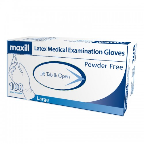maxill Latex Gloves Powder Free - Large