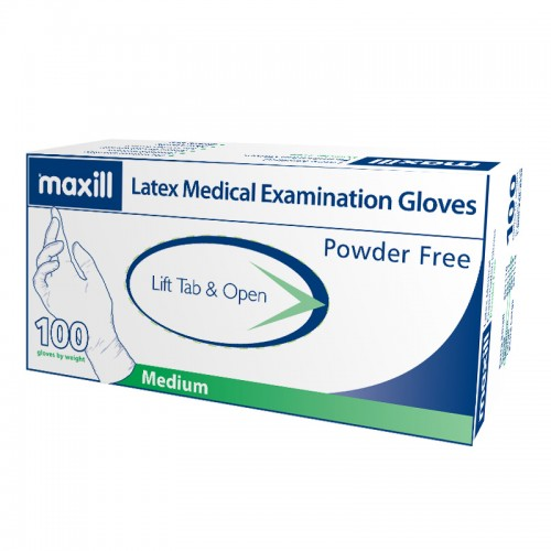 maxill Latex Gloves Powder Free - Medium