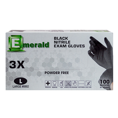 Emerald Black Nitrile PF Examination Gloves  Large