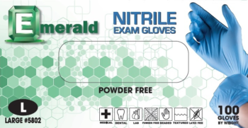 Emerald Nitrile PF Examination Gloves Extra Large